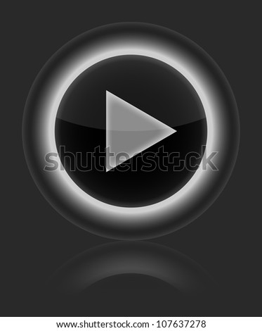 Play gray glossy round web vector button. Shape icon on gray background. 10 eps - stock vector