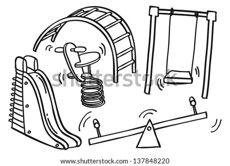 Play ground toys doodle - stock vector