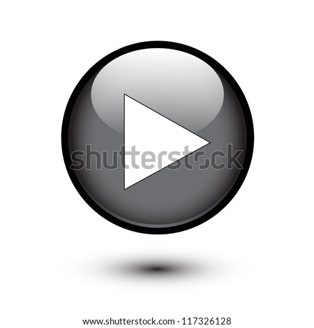 Play icon on black glossy button - stock vector