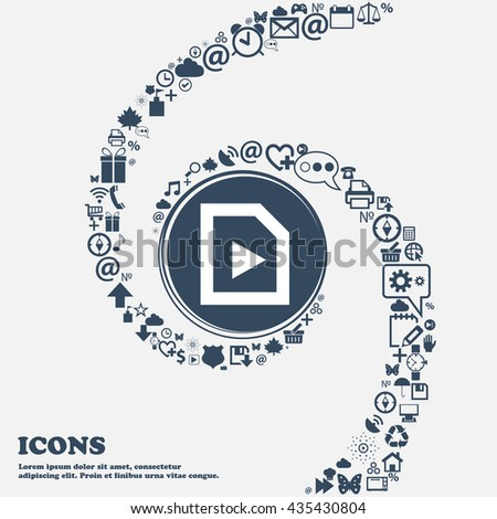 play icon sign in the center. Around the many beautiful symbols twisted in a spiral. You can use each separately for your design. Vector illustration