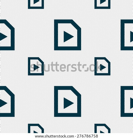 play icon sign. Seamless pattern with geometric texture. Vector illustration