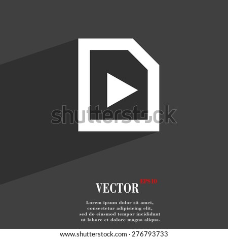 play  icon symbol Flat modern web design with long shadow and space for your text. Vector illustration