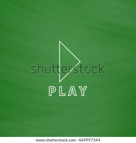 Play linear button Outline vector icon. Imitation draw with white chalk on green chalkboard. Flat Pictogram and School board background. Illustration symbol