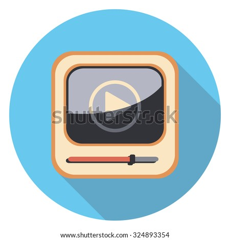 play mp3 flat icon in circle - stock vector