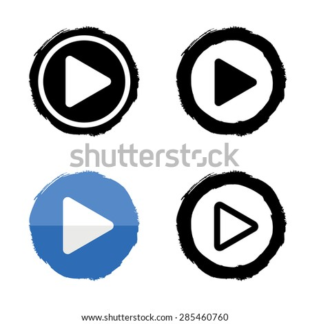 Play music icons set. Vector buttons white and black  - stock vector