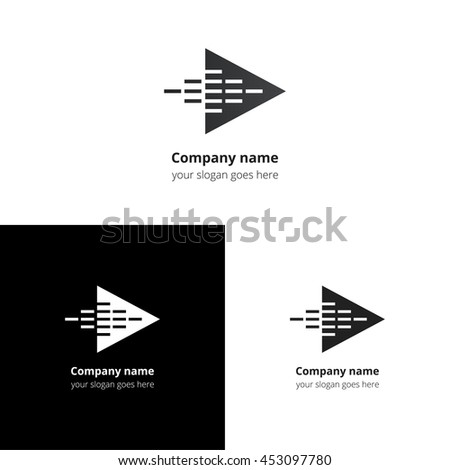 Play music sound and equalizer beat fast motion flat logo icon vector template. Abstract symbol and button with black-grey gradient for music service or company. - stock vector