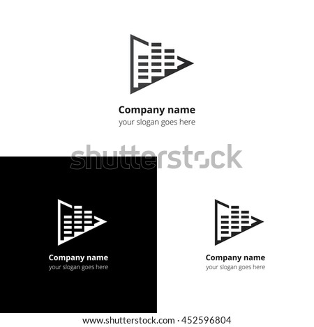 Play music sound and equalizer beat flat logo icon vector template. Abstract symbol and button with black-grey gradient for music service or company. - stock vector