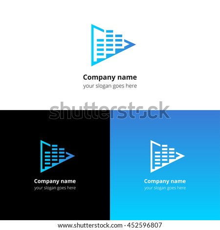 Play music sound and equalizer beat flat logo icon vector template. Abstract symbol and button with blue gradient for music service or company.
