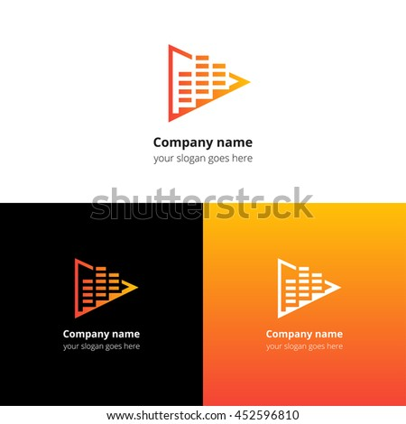 Play music sound and equalizer beat flat logo icon vector template. Abstract symbol and button with yellow-orange gradient for music service or company. - stock vector