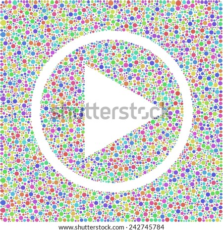 Play music symbol into a square icon.  Harlequin mosaic of little bubbles - stock vector