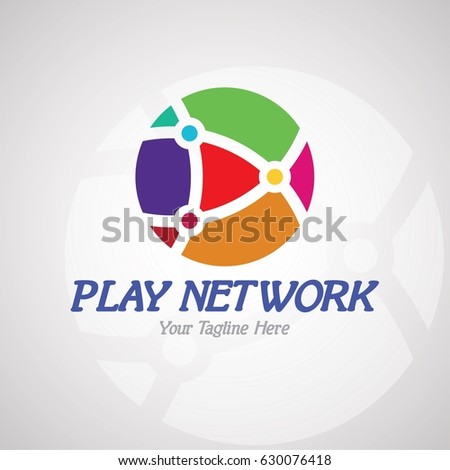Play Network Logo Design for On-line Chanel, Entertainment Studio or Business, etc. Vector Logo Template.