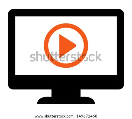 Play presentation icon - stock vector