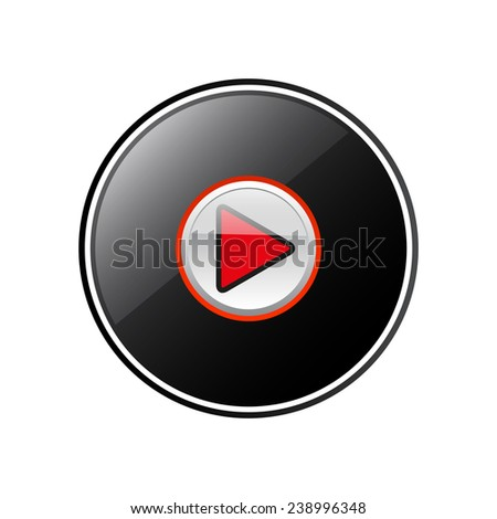 play round black glossy button for the site, vector, EPS 10 - stock vector