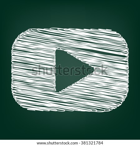 Play sign. Flat style icon with chalk effect - stock vector