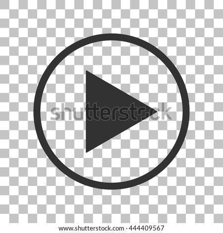 Play sign illustration. Dark gray icon on transparent background. - stock vector