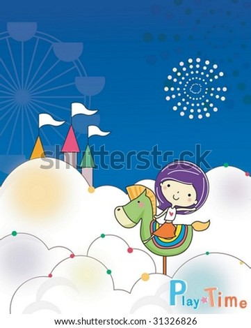 Play Time - enjoy exciting rides with a cute young girl in the amusement park on joyful holiday on blue background with beautiful night sky : vector illustration - stock vector