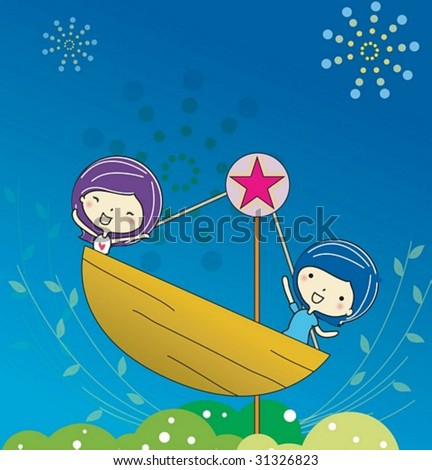 Play Time - enjoying exciting rides with cute young girl and boy in the amusement park on joyful holiday on blue background : vector illustration