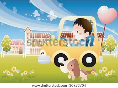 Play Time with a Cute little Kid - enjoying outdoor leisure with a happy smiling young boy and adorable puppy dog in the children park on a background of blue sky and green grass : vector illustration - stock vector