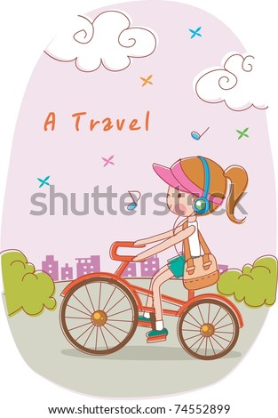 Play Time with Cute Friends - riding a bicycle lovely young girl with listening happy music and school bag on street of pretty park background with beautiful morning sky at sunrise - stock vector