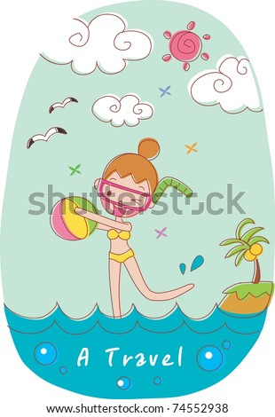 Play Time with Cute Friends - swimming lovely smiling young girl with colorful beach ball on happy summer vacation background with blue sky and beautiful water - stock vector