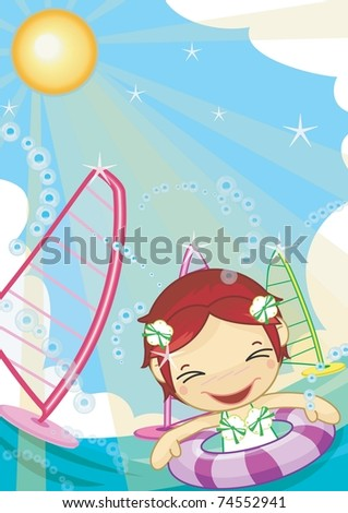 Play Time with Cute Friends - swimming lovely, smiling young girl with family on happy summer vacation background with blue sky and beautiful ocean - stock vector