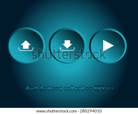Play upload and download button vector neon round