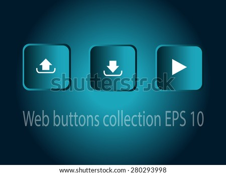 Play upload and download button vector neon square