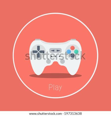 """Play : Vector """"game controller"""" icon flat design - stock vector"""