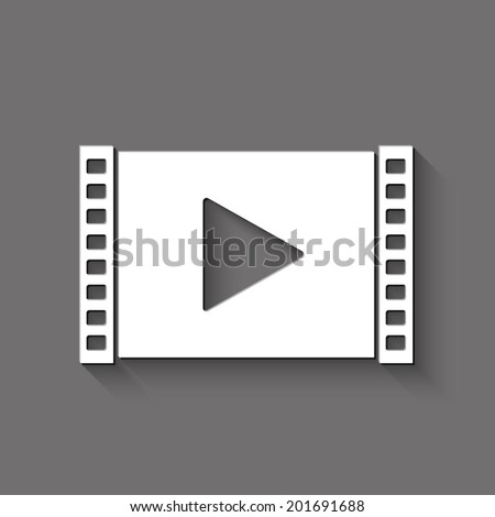 Play video icon - white vector illustration with shadow on gray background - stock vector