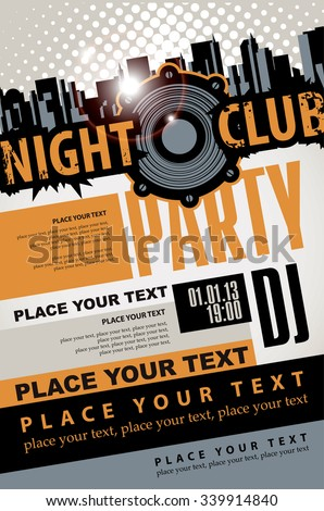Playbill for the musical party in night club with speaker over modern city background - stock vector