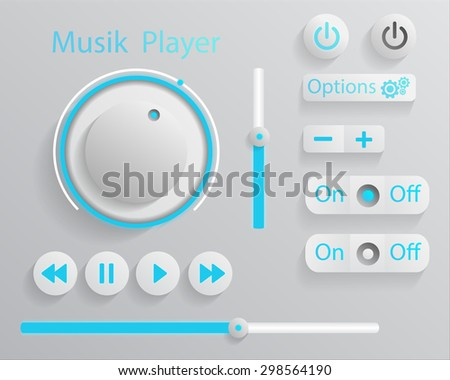 Player. Buttons, Switchers, Slider - stock vector