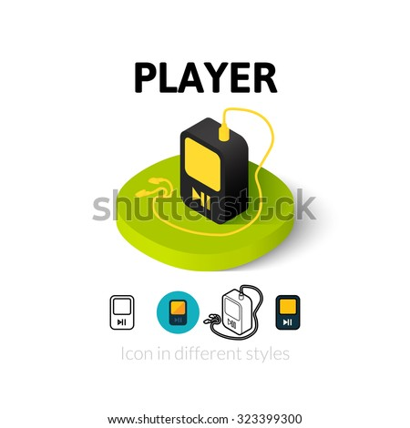 Player icon, vector symbol in flat, outline and isometric style - stock vector