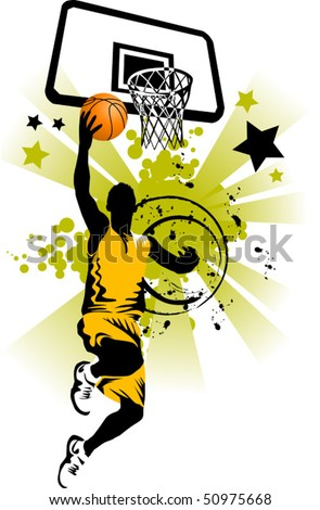 player in basketball at the background of basketball rings (vector) - stock vector