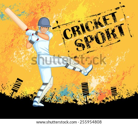 Player playing game of cricket in vector - stock vector