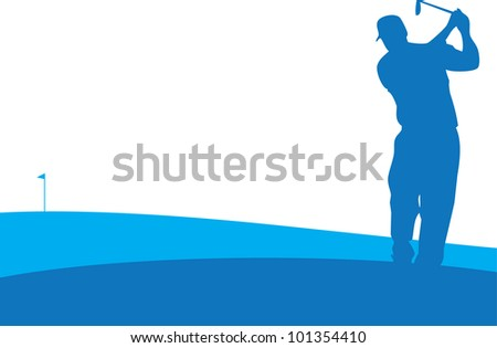 Player swings in Golf Tournament - stock vector