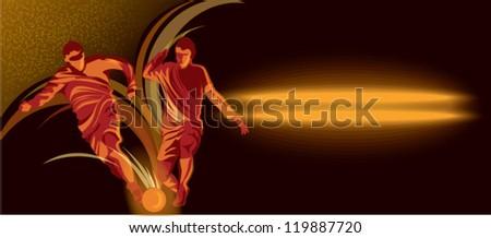 players kicks the ball - stock vector