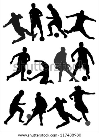 Players silhouettes,soccer,football. - stock vector
