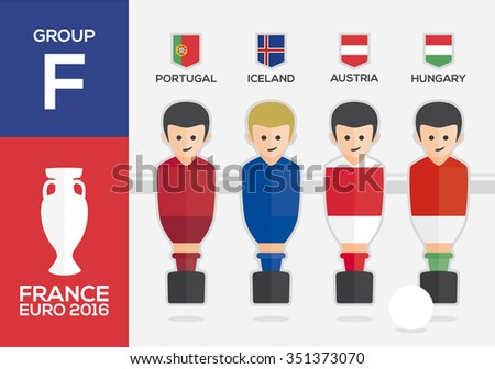 Players with flags of european countries participating GROUP F of Euro 2016 football championship in France - stock vector