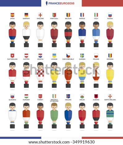 players with flags of european countries participating to the final tournament of Euro 2016 football championship in France - stock vector