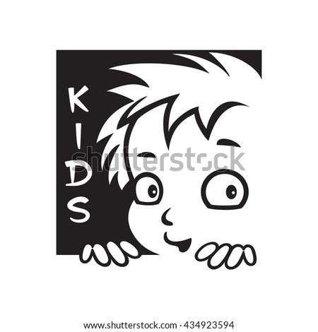 Playful child smiling. Icon for label for children's items. Black and white vector image. - stock vector
