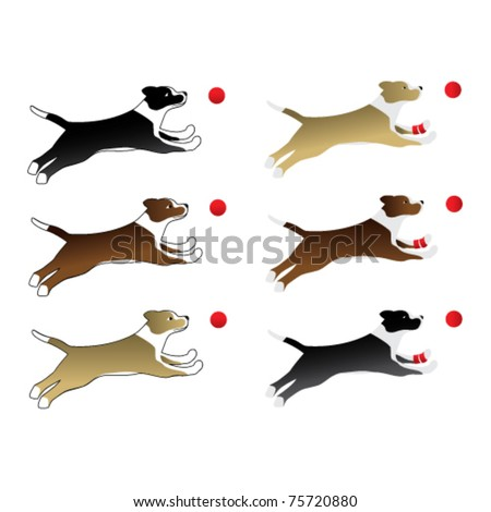 playful dogs - stock vector