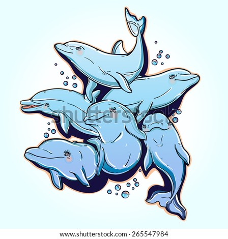 Playful happy beautiful jumping bottle-nose sea dolphins in a group. Colorful vector illustration on a light blue background. Summer fun, aquarium elements. - stock vector