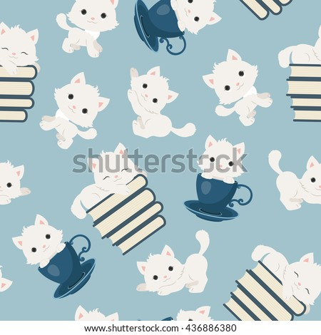 Playful kittens seamless pattern. White cats on blue background