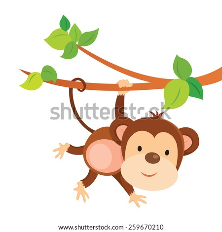 Playful monkey. Cute monkey playing and gesturing. - stock vector