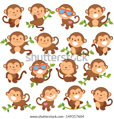 playful monkeys set - stock vector