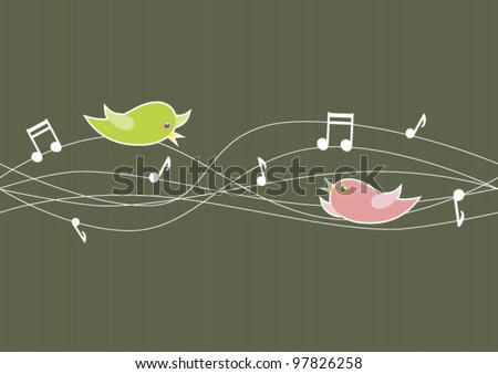 Playful vector illustration of song birds on slightly tangled wires and music notes.  Can be tiled both horizontally and vertically. - stock vector