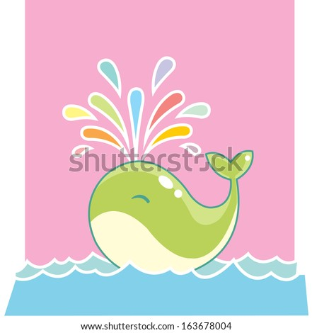 Playful whale - stock vector