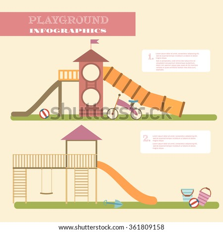 Playground infographic elements vector flat illustration.Kids playing equipment infographics set.Flat style cartoon vector illustration with isolated objects.