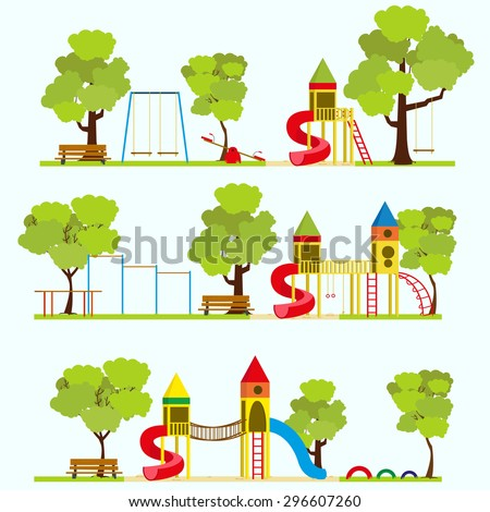 Playground, kids playground, playground park, school playground, children's playground, kindergarten playground with swings, slide, sandpit, Playground in summer park. Vector illustration - stock vector
