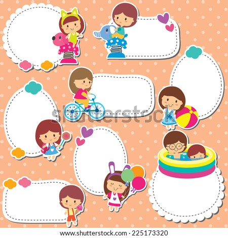 playground kids text box design - stock vector